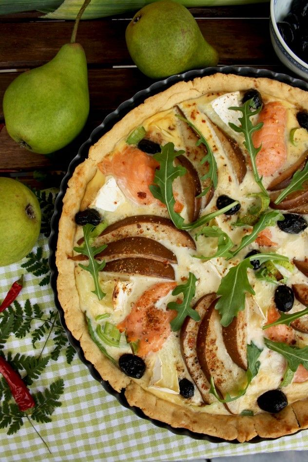 A festive Salmon Quiche with pears and camembert is incredibly delicious to make for any occasion.