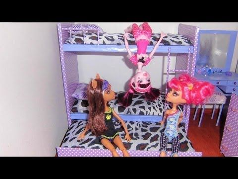 How to make a bunk bed for doll (Monster High, Barbie, etc) - YouTube