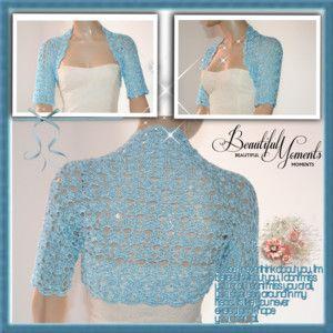 Wedding Bridal Bolero Shrug Lace Crochet Shrugs Boleros Blue Silk