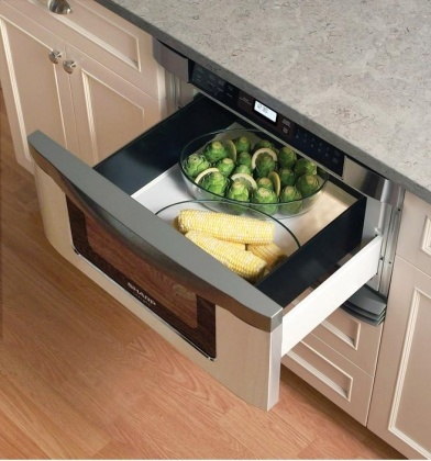 Microwave drawer - really neat and then you don't have the chance of spilling or burning yourself when taking it out of a microwave up higher
