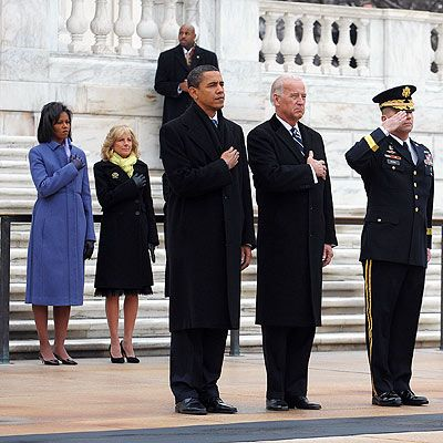 saluting the president | President Obama and Vice President Biden salute at the Tomb of the ...