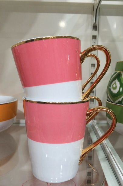 c. wonder pink + gold mugs