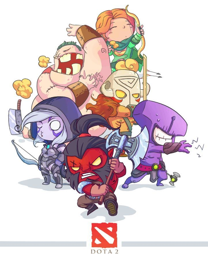 Axe, Drow, Void, Windrunner, Juggy and Pudge