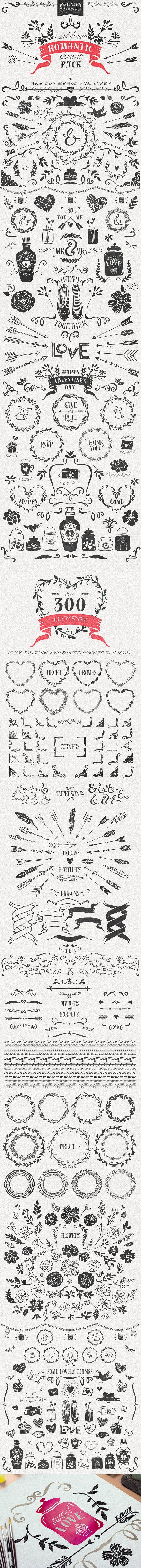 Hand Drawn Romantic Decoration Pack. Wedding Fonts