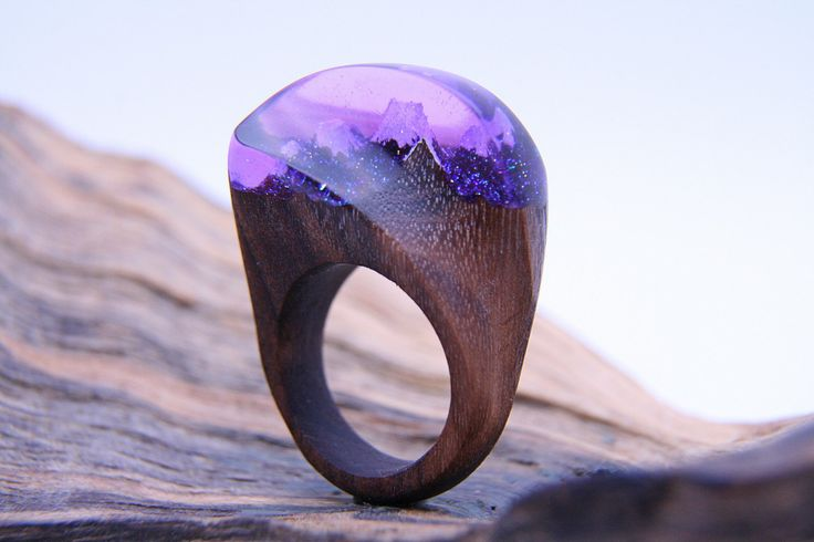 """Unusual Wooden Resing Ring """"Vortex"""". Epoxy Ring, Pink Purple Resing Jewelry, Natural Wood Jewelry, Organic Accessories, Tree Ring, Xmas Gift by NellyRomanova on Etsy"""