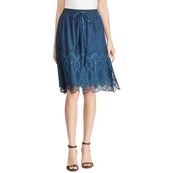 Lauren Ralph Lauren Embroidered Lace Trim Skirt ($135) ❤ liked on Polyvore featuring skirts, indigo, blue skirt, ralph lauren, ralph lauren skirts, lace trim skirt and lacy skirt