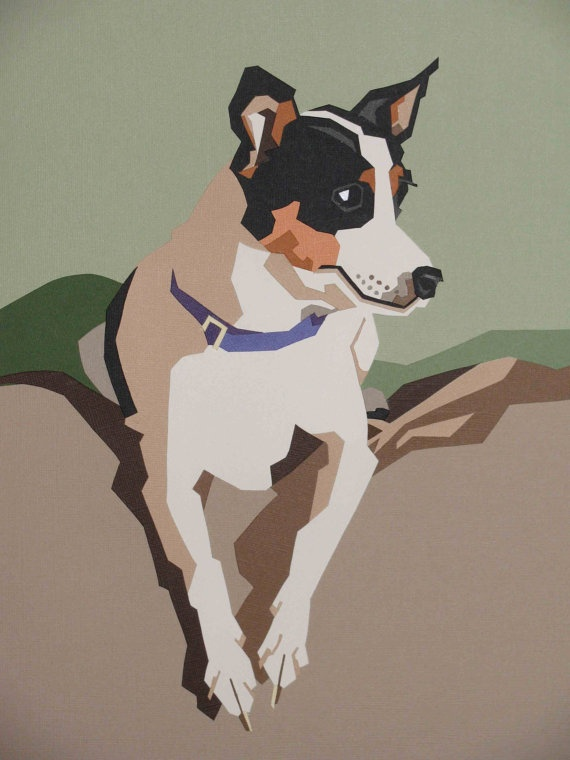 Dog portrait made out of cut paper! Artwork by Don Zalewski.