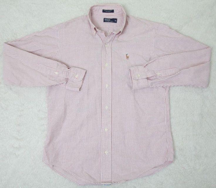 Ralph Lauren Polo Dress Shirt Red White Boys Cotton Striped Button Front Size 18 #RalphLaurenPolo #Everyday