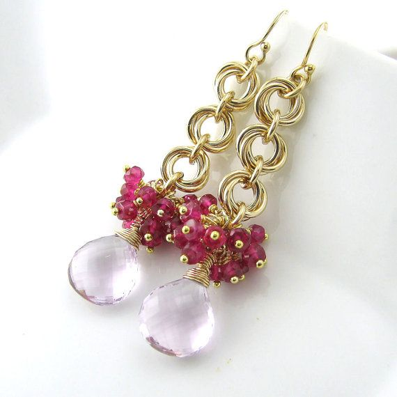 Gemstone Cluster Earrings Chainmail Flower Earrings 14k Hot Pink Quartz Pink Amethyst No. 21 Handmade Fashion Jewelry