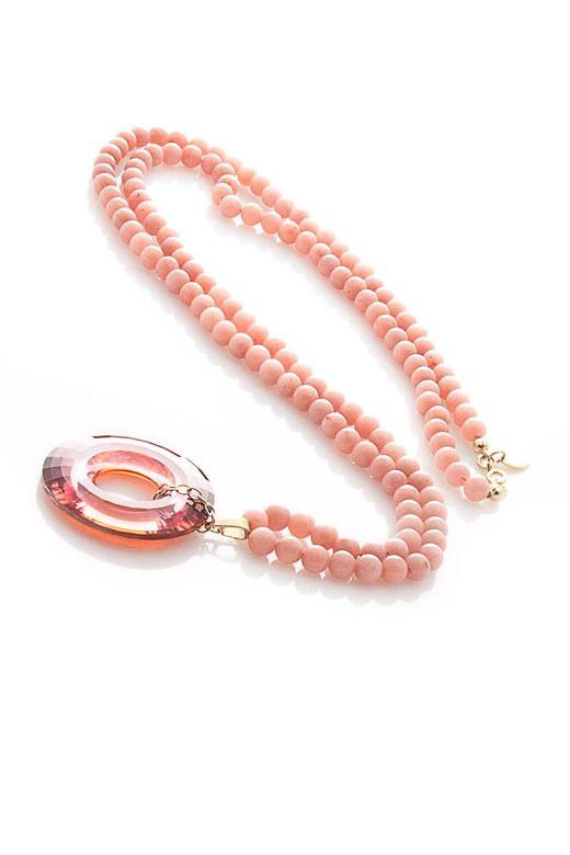 Różowy naszyjniki ozdobiony kryształem Swarovskiego! Kochamy kryształy :)