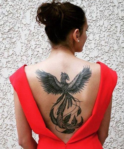 Chic Full Back Phoenix Tattoos for Women