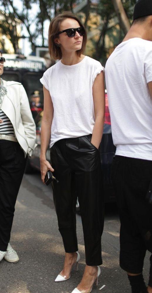 白Tシャツ 着こなし コーデ術 マニッシュ タックパンツ