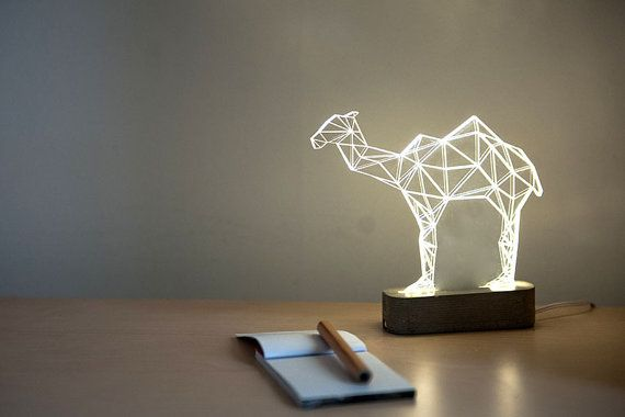 Beautiful modern camel lamp, laser engraved desert themed decorative lamp. Add modern simplicity and humour to your house or office with this
