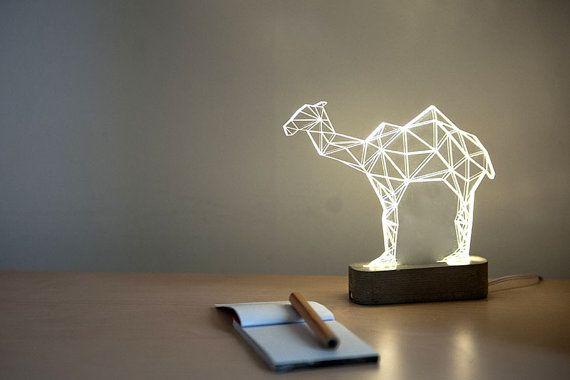 Geometric LED concrete camel lamp , animal night light, desert themed decorative table lamp