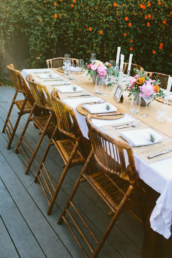 backyard dinner party: Table Settings, Outdoor Dining, Tables Sets, Bamboo Chairs, Dinner Parties, Bachelorette Dinners, Backyard Dinners Parties, Parties Ideas, Gardens Parties