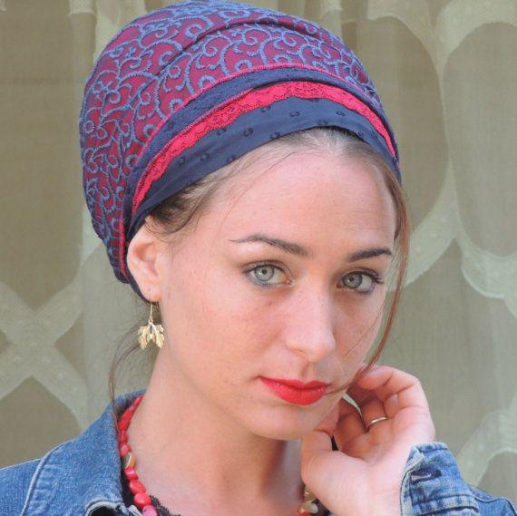 Blau rot Tichel Haar Snood, Kopftuch, Kopf abdeckt, jüdische Headcovering, Schal, Halstuch, Schürze