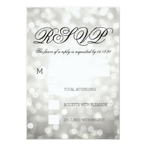 Silver Bokeh Lights Elegant Wedding RSVP Card