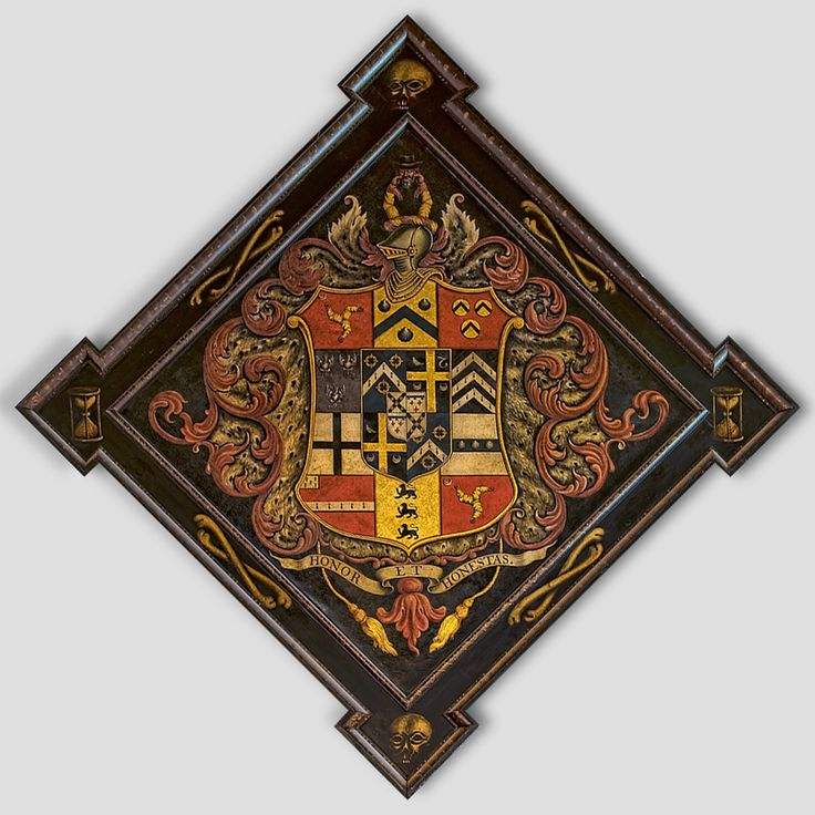 Hatchment in All Saint's Church, at St. Ewe, Cornwall, England