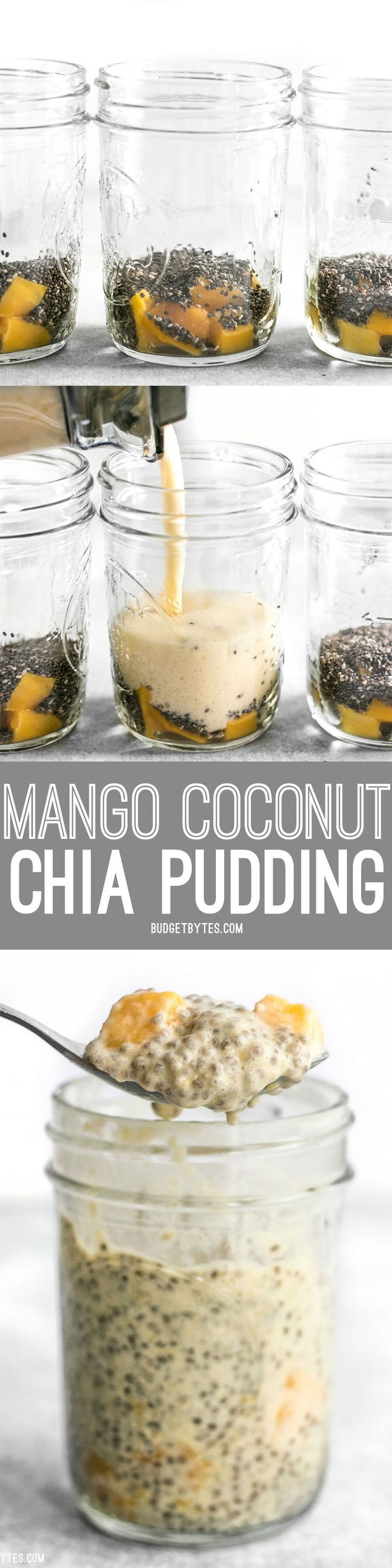 These Mango Coconut Chia Pudding cups are a fast and easy make-ahead breakfast with tons of fiber and protein.