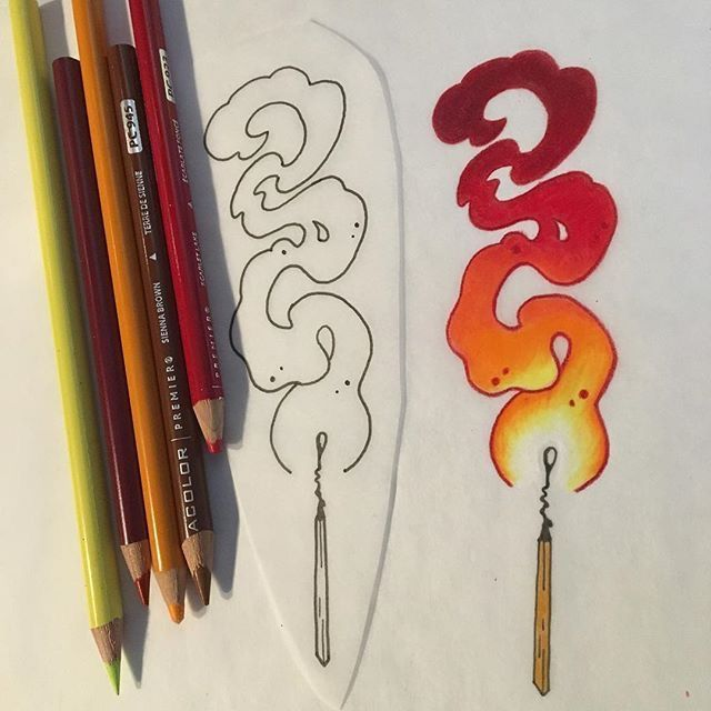 Lighting A Match Coloring A Flame With Colored Pencils Sketch Book Art Tattoo Drawings