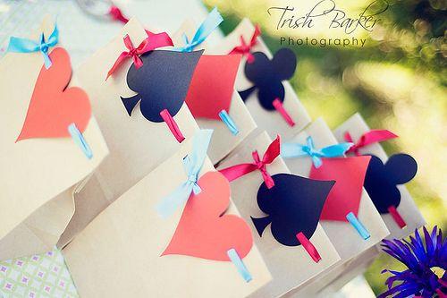 Alice in Wonderland treat bags- A deck of Cards