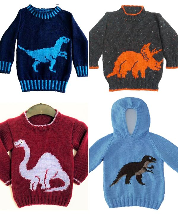 c86a25b339fddd Knitting Pattern for Dinosaur Sweaters for Babies and Children - Pullovers  and hoodies with dinosaurs including Velociraptor