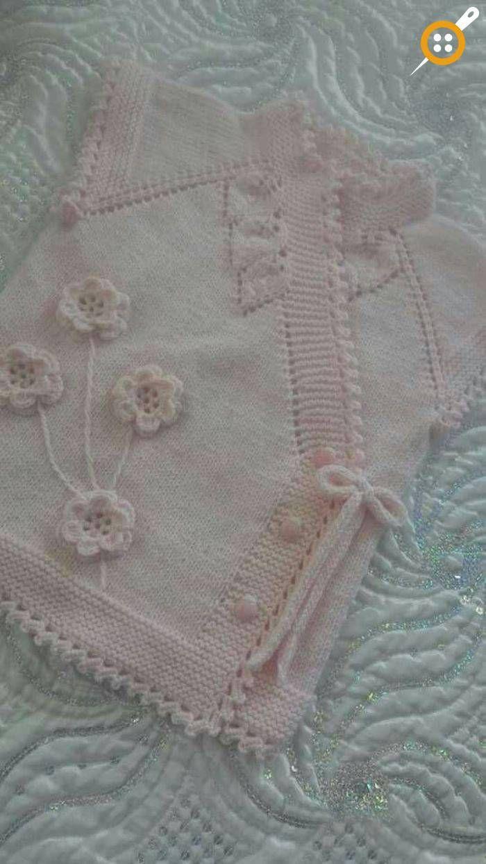 Knitting girl baby chalé modelos