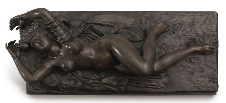 French Bronze Plaque - Femme Nu En Repose - 19th Century.