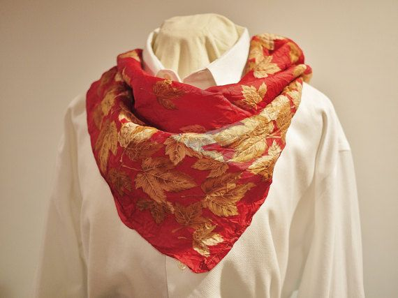 Vintage Red with Gold Maple Leafs wrinkle by KitschyKitschyYAYAYE