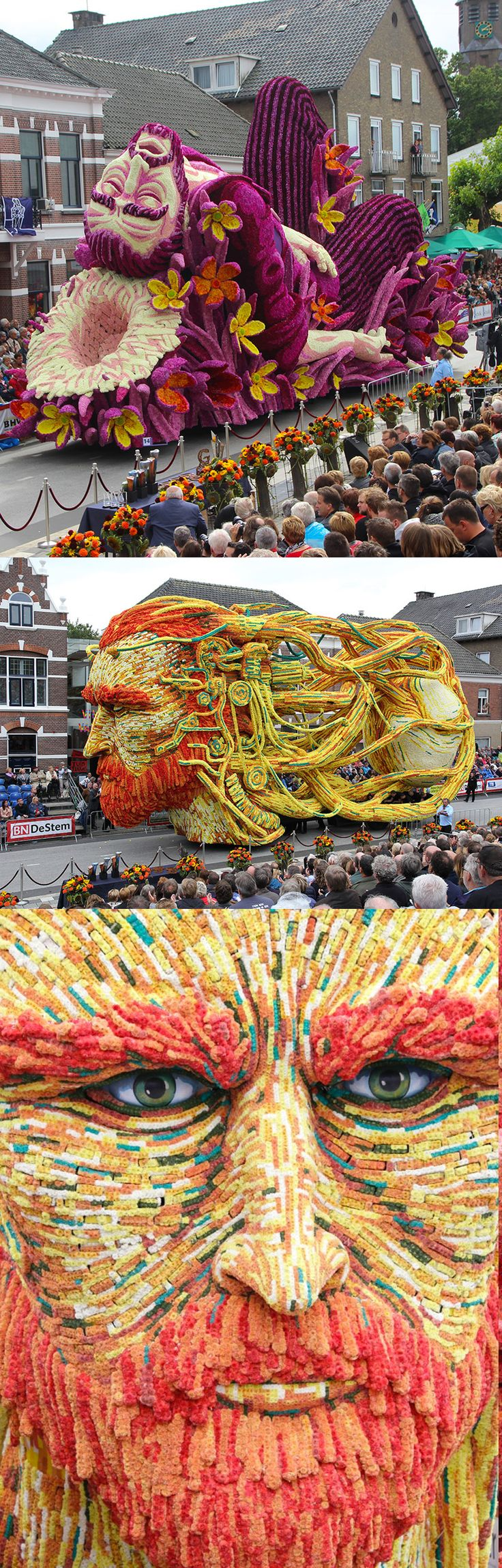 The Annual 'Corso Zundert' Parade Honors Van Gogh with Monumental Floats Adorned with Flowers