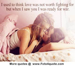 Romantic love quotes for couples and photos - fight for - couple on bed kissing - image 13