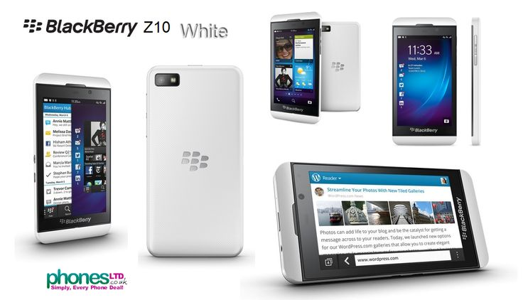 White Blackberry Z10 with 4G connection speeds on LTE networks - check out the best UK deals: https://www.phonesltd.co.uk/Blackberry/Z10_White_Deals.html #blackberryz10white #whiteblackberryz10