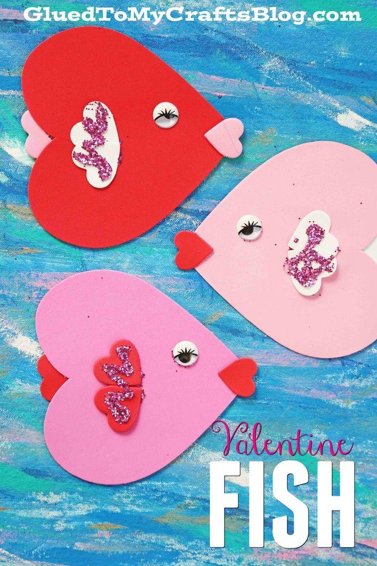 February crafts for preschoolers - Craft Foam Valentine Fish Kid Craft