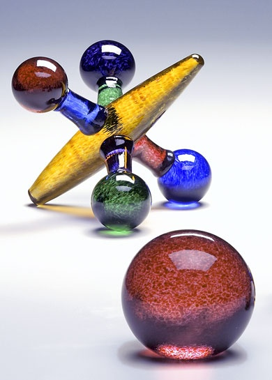 """Colored Jack Set"" art glass sculpture by Michael Trimpol"