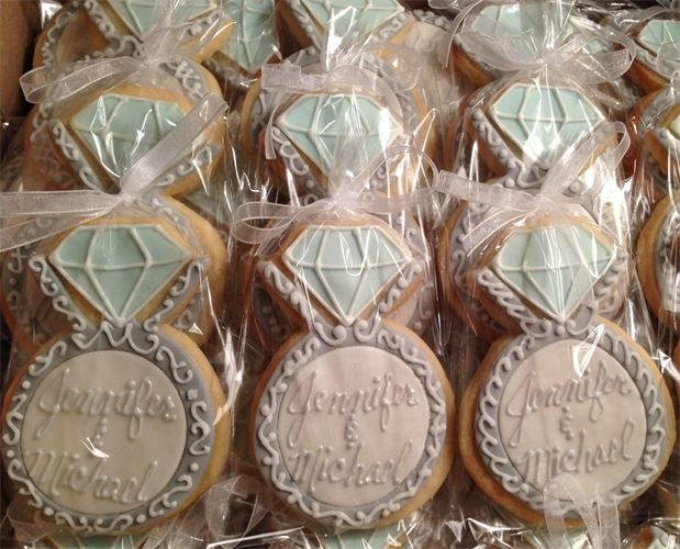 engagement ring cookie favors- adorable for engagement party or bridal shower!!!