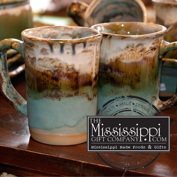 Enjoy your morning coffee with one of these beautiful mugs! www.TheMississippiGiftCompany.com/etta-b-tuquoise-mug.aspx
