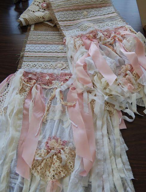 Burlap Table Runner #Shabby Chic Pink Ruffle Lace Romantic Wedding  www.LaPetitePrairie.etsy.com
