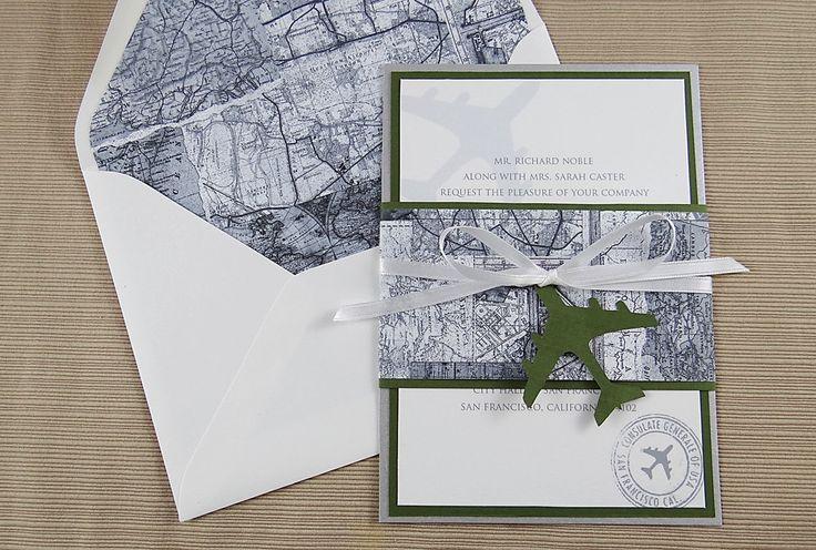 Travel Theme Invitation - Travel Map Wedding Invitation - Black and White Invitation by CordiallyInvitedShop on Etsy https://www.etsy.com/listing/218142439/travel-theme-invitation-travel-map