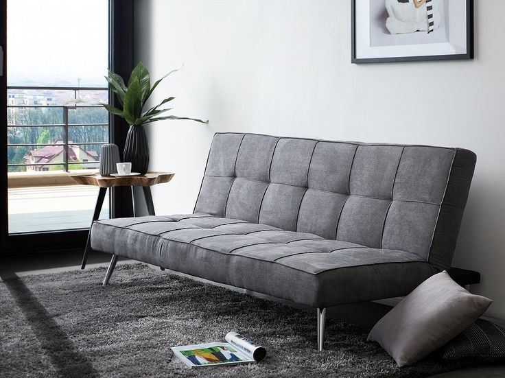 Upholstered Sofa Bed in Grey HASLE | Follow Beliani UK on Pinterest for more living room inspirations! #sofabed #greysofa #reclinersofa