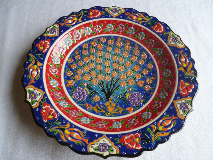 "12"" Tree of Life Platter  in red and blue.  Handmade, food and dishwasher safe!"