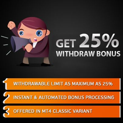 Obtain a withdraw bonus of 25% for every payment you make in your live account. Avail the #bonus now!!