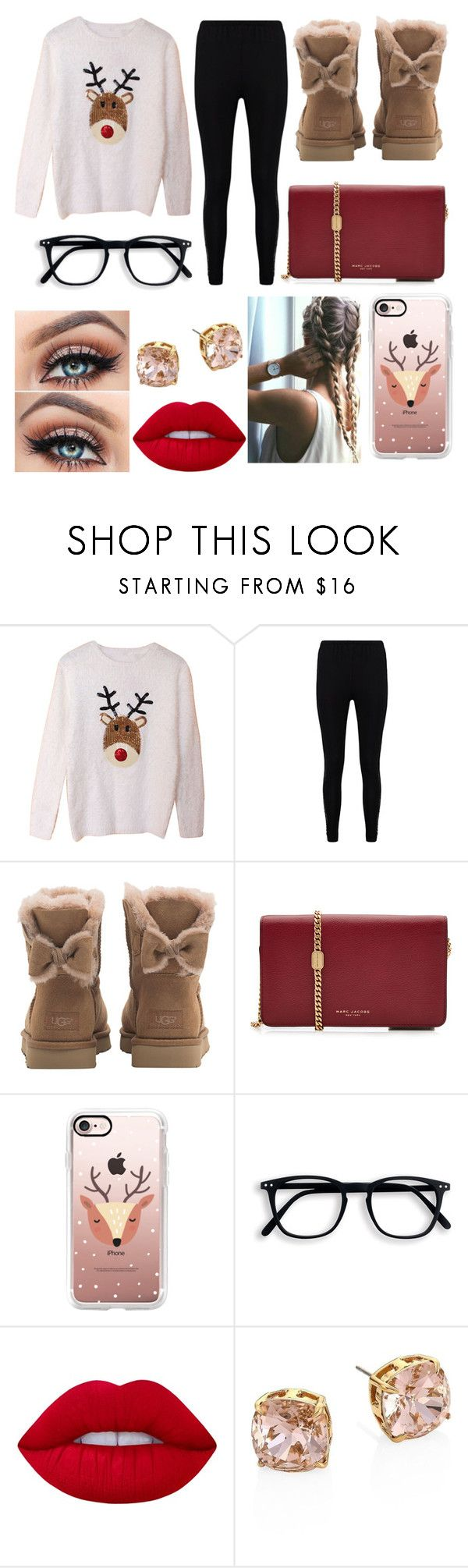 """Rudolph The Red Nose Reindeer😍😍❤️"" by queen71304 ❤ liked on Polyvore featuring Boohoo, UGG, Marc Jacobs, Casetify, Lime Crime and Tory Burch"