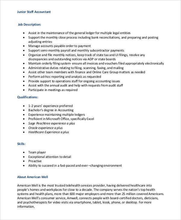 Staff Accountant Job Description Check More At Https Cleverhippo
