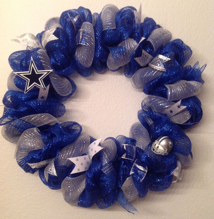 #NFL #Dallas Cowboys Wreath Ii Door Hanger Decoration Deco Mesh Blue Silver New from $65.0