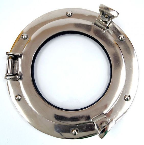 "CaptJimsCargo - Ship's Porthole Glass Window 9"" Aluminum Chrome Finish, (http://www.captjimscargo.com/nautical-home-decor/portholes/ships-porthole-glass-window-9-aluminum-chrome-finish/) This Porthole Window makes a great picture frame!"