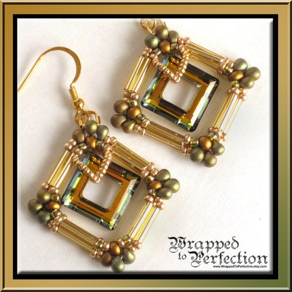 Swarovski Square Earrings / Opulent Square Ring Beadweaving Seed Beads Bugle Beads Special Occasion