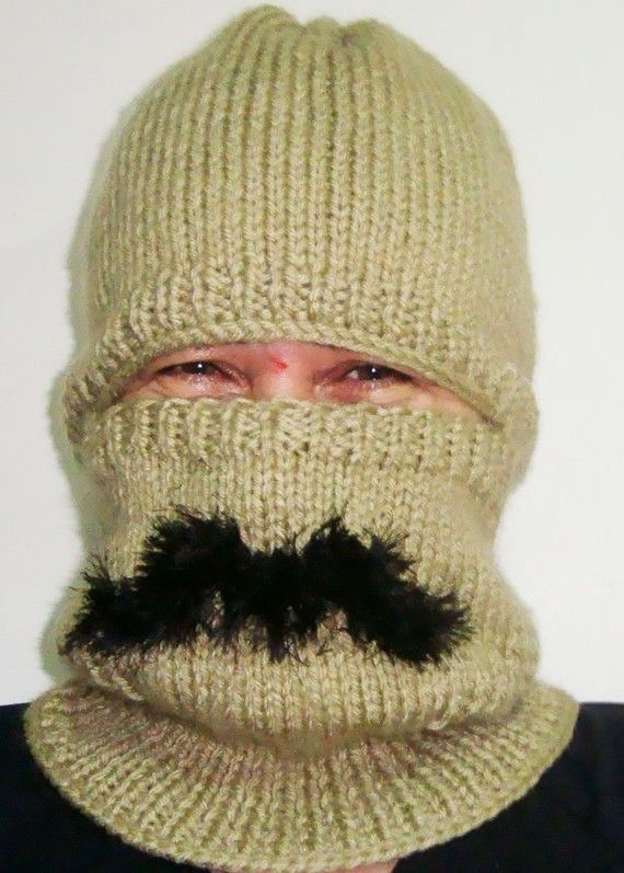 Mustache Cold Weather hat Man Winter Snow Ski Hat   by earflaphats