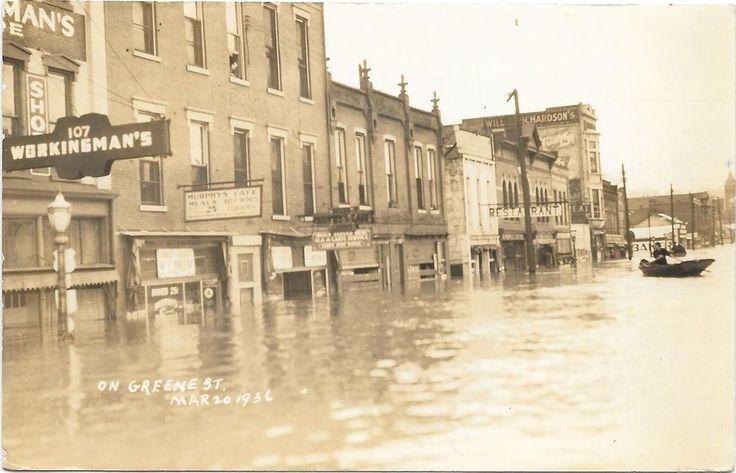 Marietta Ohio, Green Street Flood Damage, Sharp 1936 RPPC Postcard