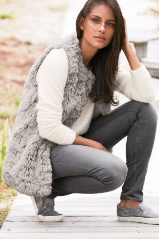 Buy Grey Faux Fur Gilet from the Next UK online shop