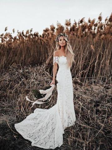 31f0f335607d Ivory Cap Sleeve See Through Boho Wedding Dresses Beach Bridal Dress A –  SheerGirl